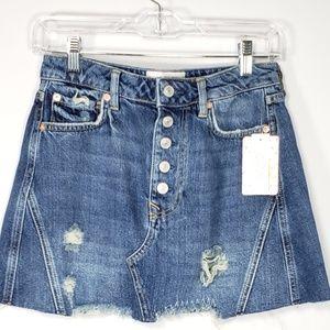 free people  denim A line skirt